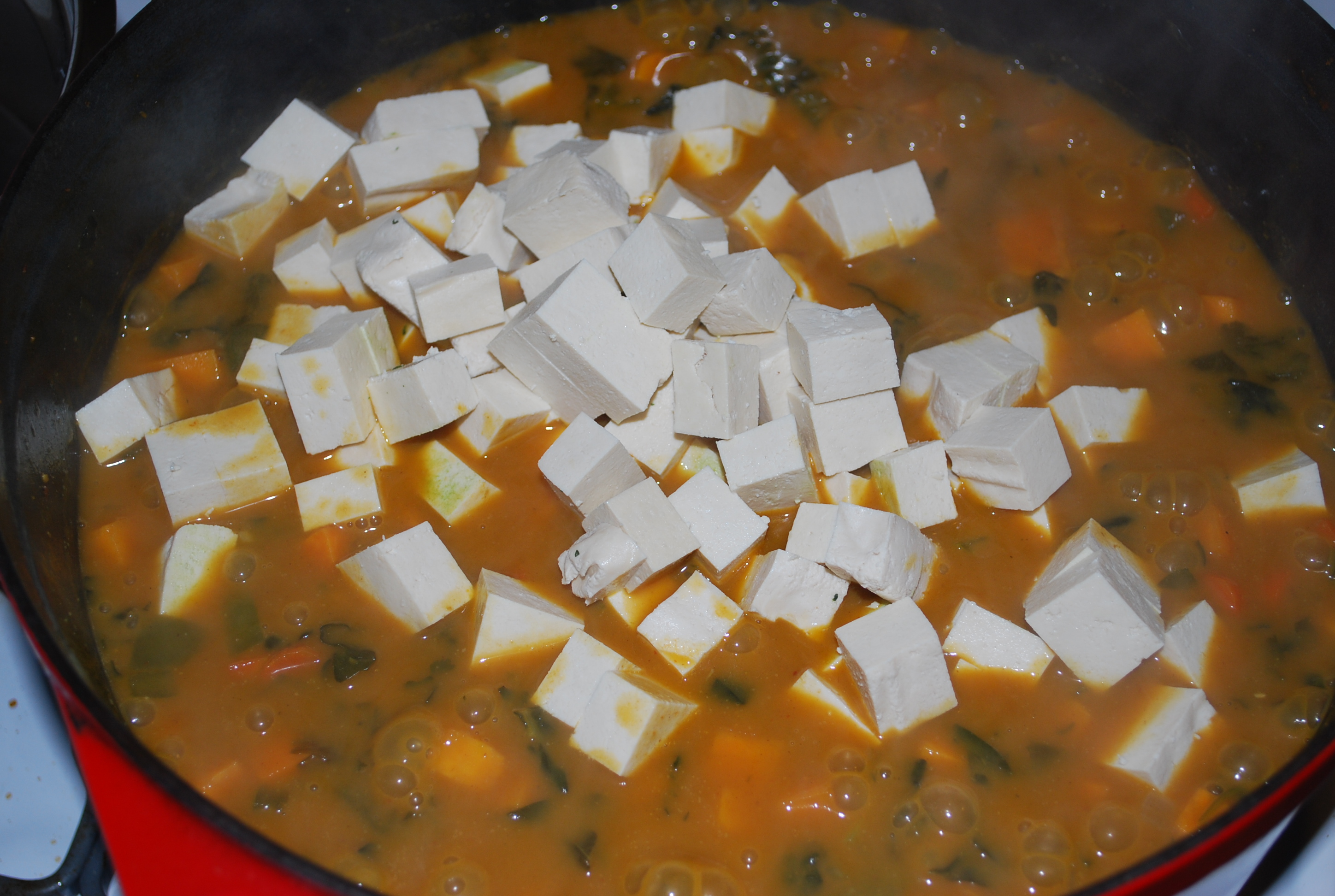 Add in the cubed tofu 10 minutes before it's done, stir well.