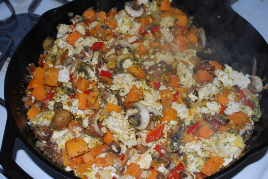 Saute veggies, add in crumbled tofu