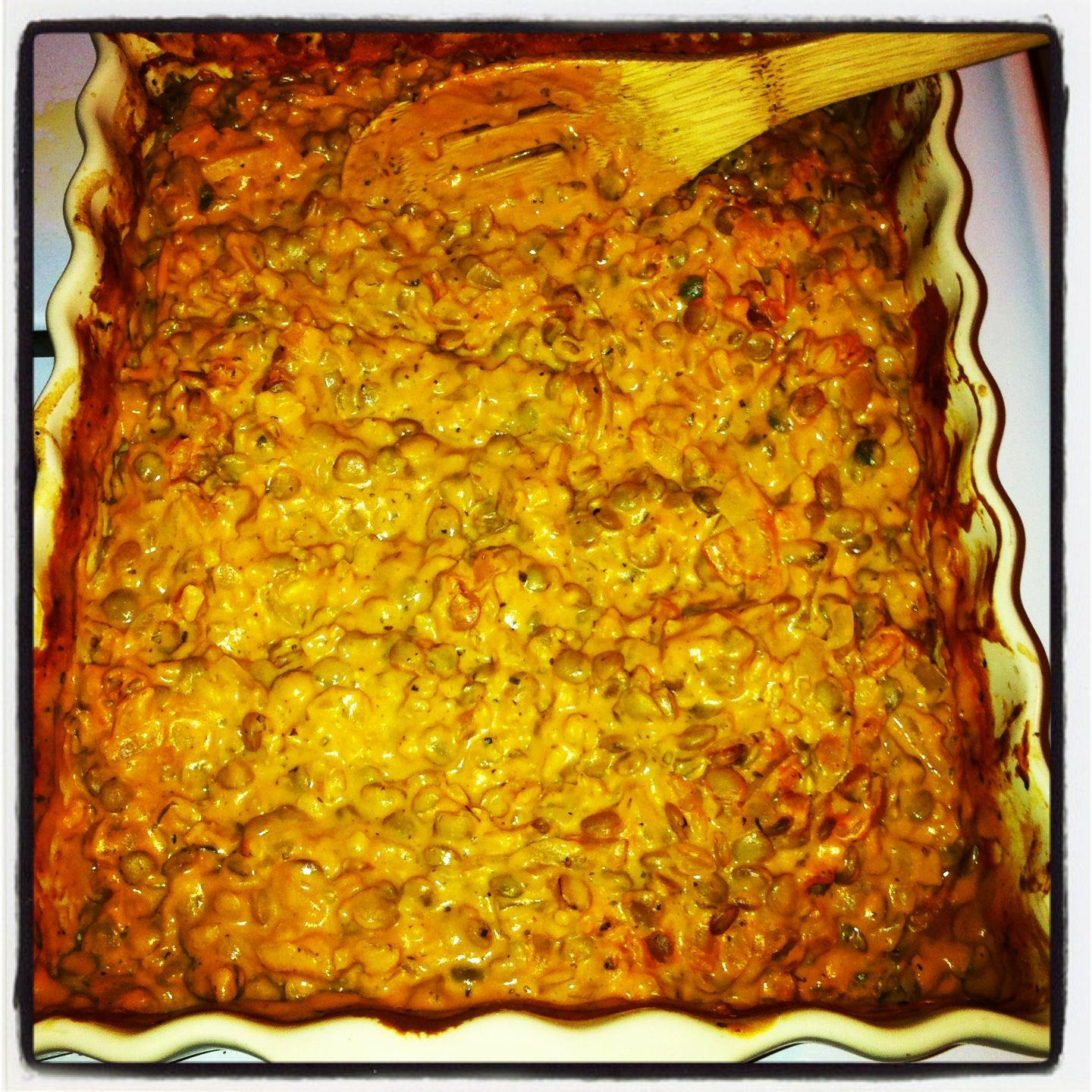 Cheezy Rice & Lentil Bake