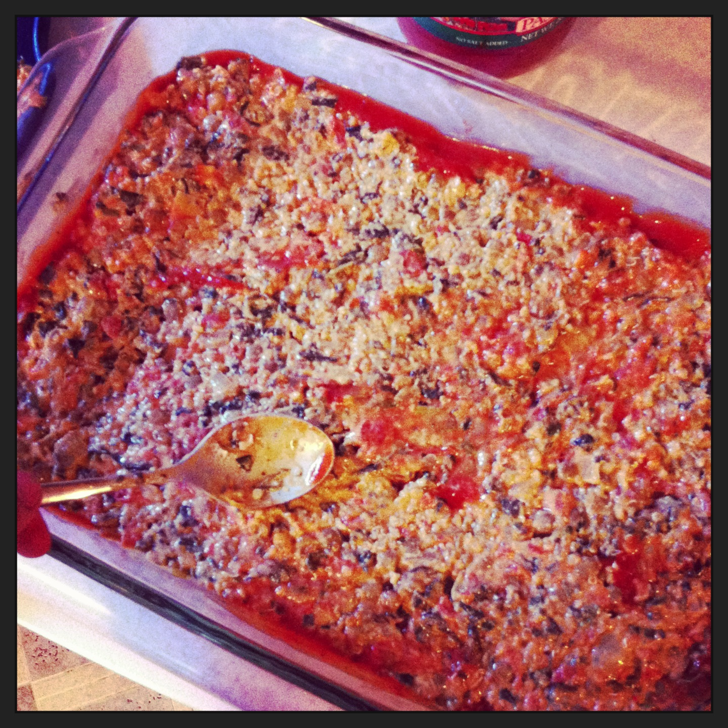 Start layering your leftovers. This is leftover Cheezy Quinoa & Lentil Bake